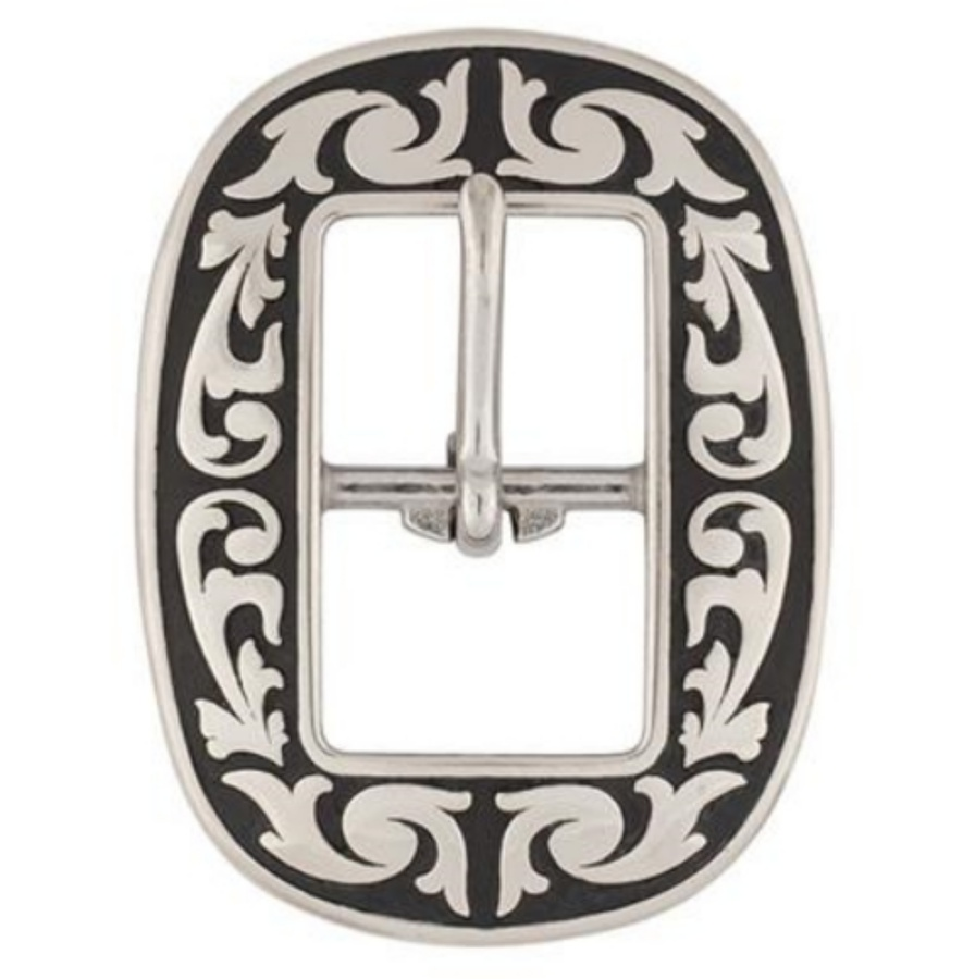 Jeremiah Watt Accented Floral Oval Centre Bar Buckle 16mm L